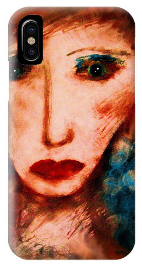 Woman IPhone X Case featuring the painting Melancholy by Natalie Holland