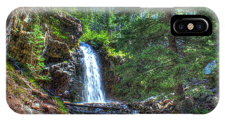 Spring IPhone X Case featuring the photograph Memorial Falls With Sky by John Lee