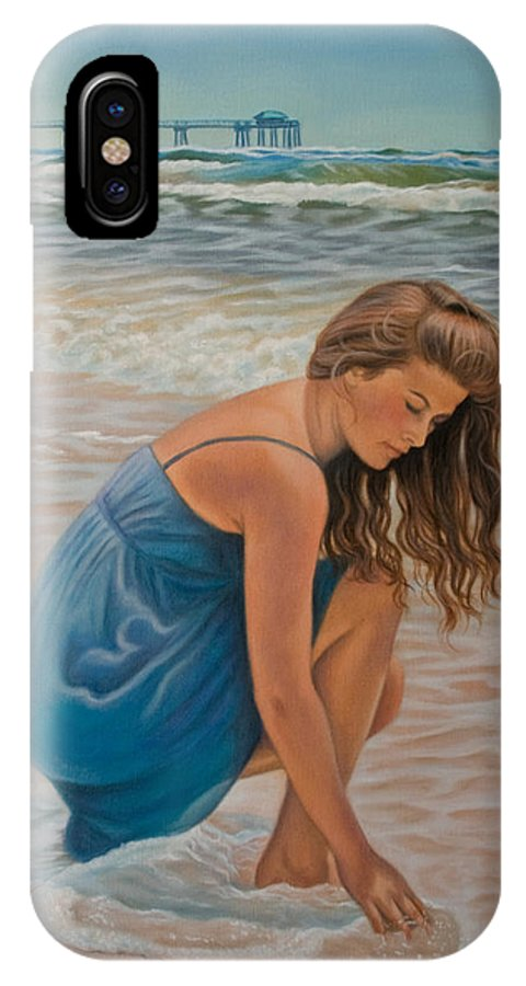 Realism IPhone X / XS Case featuring the painting Memories Of The Sea by Holly Kallie