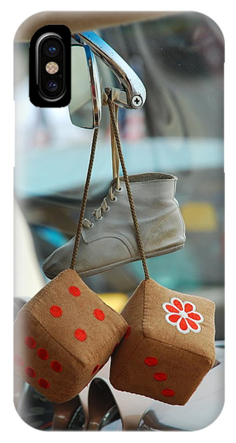 Memories.baby Shoes.shoes.rear View Mirror .mirror.old Car. Dice.leather.dash.string.flower.good Times.goodies.greeting Card IPhone X Case featuring the photograph Memories On A String by Kathy Gibbons