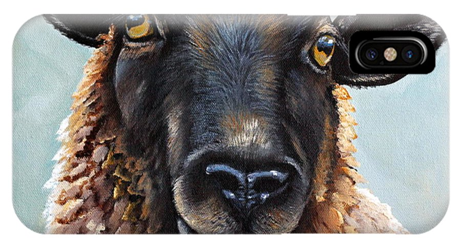 Sheep IPhone X Case featuring the painting Memphis by Laura Carey