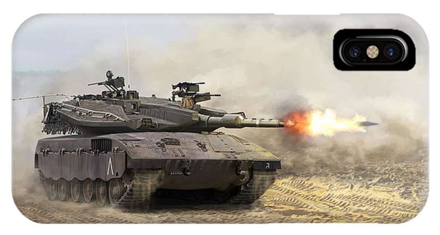 Military IPhone X / XS Case featuring the painting Merkava Mk IIi Baz by Mark Karvon