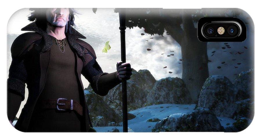 Merlin IPhone X Case featuring the digital art Merlin by Gabor Gabriel Magyar - Forgottenangel