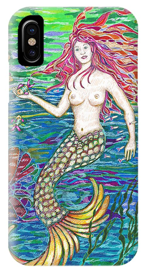 Drawing IPhone X Case featuring the drawing Mermaid by Joy Calonico