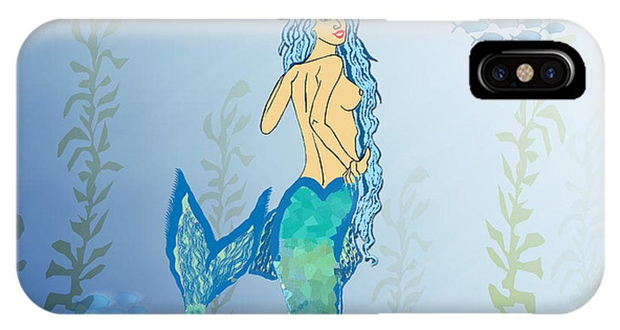 Mermaid IPhone X / XS Case featuring the painting Mermaid Paint The Sea by Josie Valerio