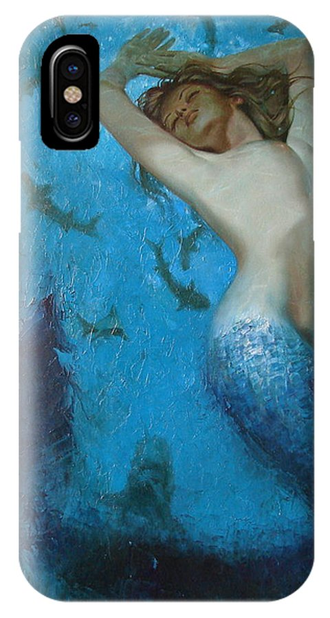 Ignatenko IPhone X Case featuring the painting Mermaid by Sergey Ignatenko