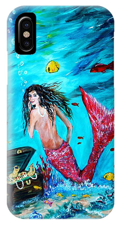 Mermaid IPhone X Case featuring the painting Mermaids Treasure by Leslie Allen