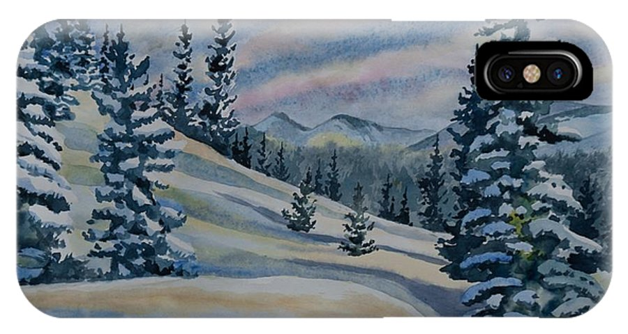 Happy Holidays IPhone X Case featuring the painting Merry Christmas - Winter Landscape by Cascade Colors