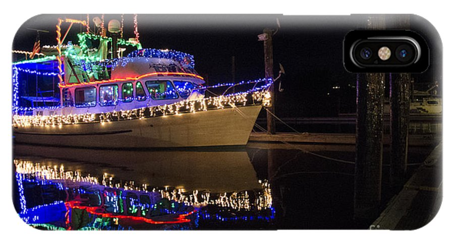 Boat IPhone X / XS Case featuring the photograph Merry Christmas Bandon By The Sea 2 by Bob Christopher