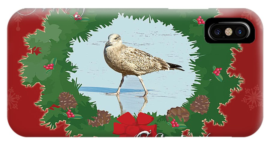 Christmas IPhone X Case featuring the photograph Merry Christmas Greeting Card - Young Seagull by Mother Nature