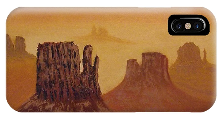 Mesa IPhone X Case featuring the painting Mesas by Tim Longwell