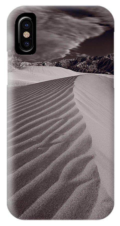 Death IPhone X Case featuring the photograph Mesquite Dunes Death Valley B W by Steve Gadomski