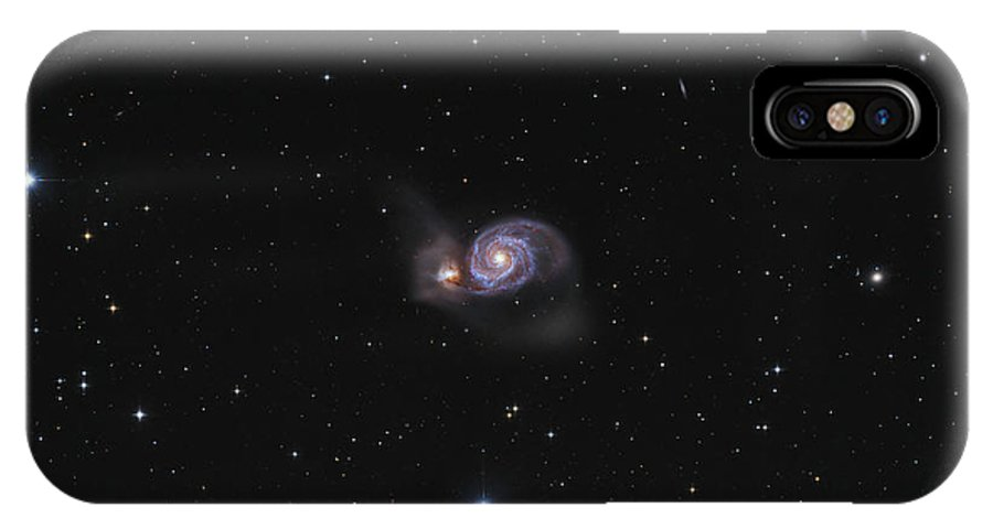 Horizontal IPhone X Case featuring the photograph Messier 51, The Whirlpool Galaxy by Lorand Fenyes