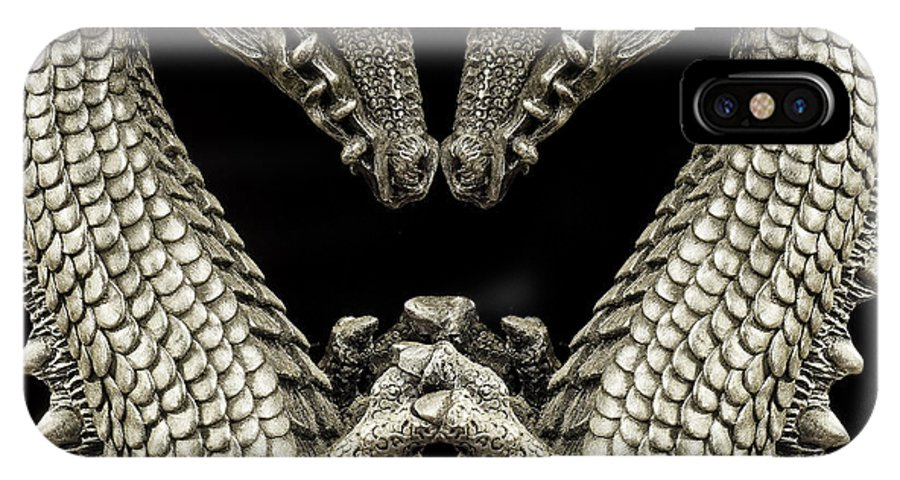 Dragon IPhone X Case featuring the photograph Metallic Scales by Bill Tiepelman