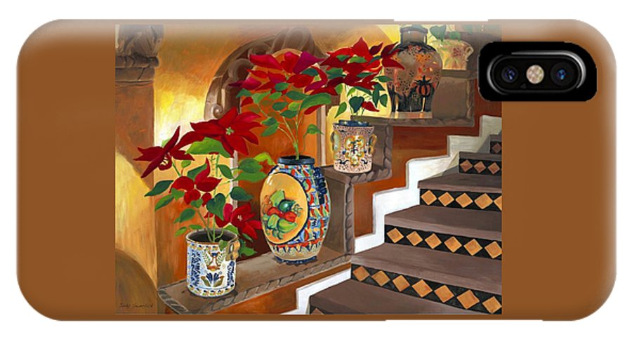 Mexican Pottery IPhone X Case featuring the painting Mexican Pottery On Staircase by Judy Swerlick