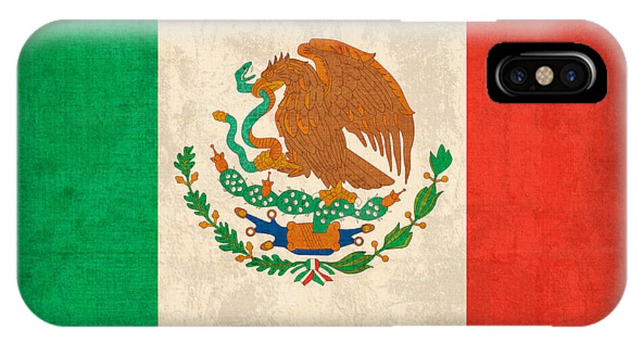Mexico Flag Vintage Distressed Finish IPhone X Case featuring the mixed media Mexico Flag Vintage Distressed Finish by Design Turnpike