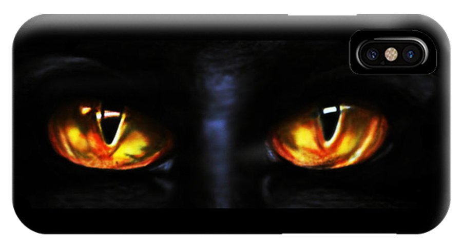 Eyes IPhone X Case featuring the drawing Mezmereyes by Derrick Bruno-Rathgeber