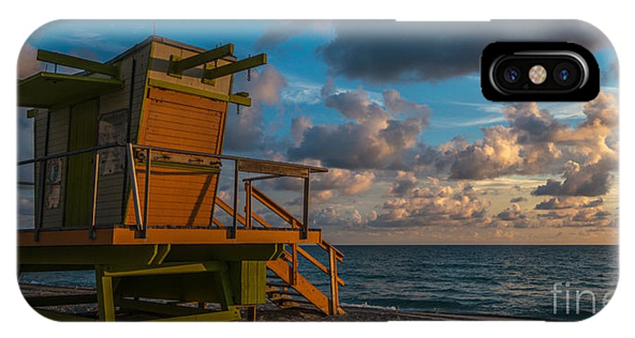 America IPhone X Case featuring the digital art Miami Beach Lifeguard Station Glows From The First Light Of Day - Panoramic by Ian Monk