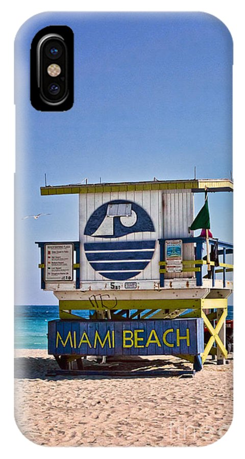 Lifeguard IPhone X Case featuring the photograph Miami Beach Lifeguard Station by Les Palenik