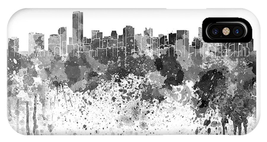 Miami Skyline In Black Watercolor On White Background Iphone X Case