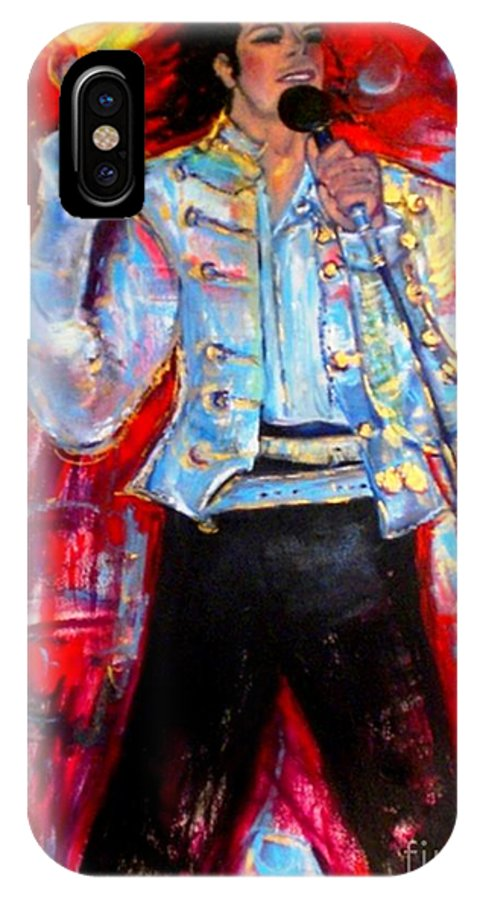 Michael Jackson IPhone X Case featuring the painting Michael Jackson I'll Be There by Helena Bebirian