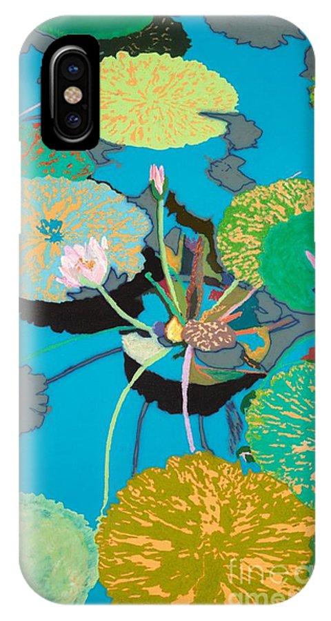 Landscape IPhone X Case featuring the painting Michelles Secret Pond by Allan P Friedlander