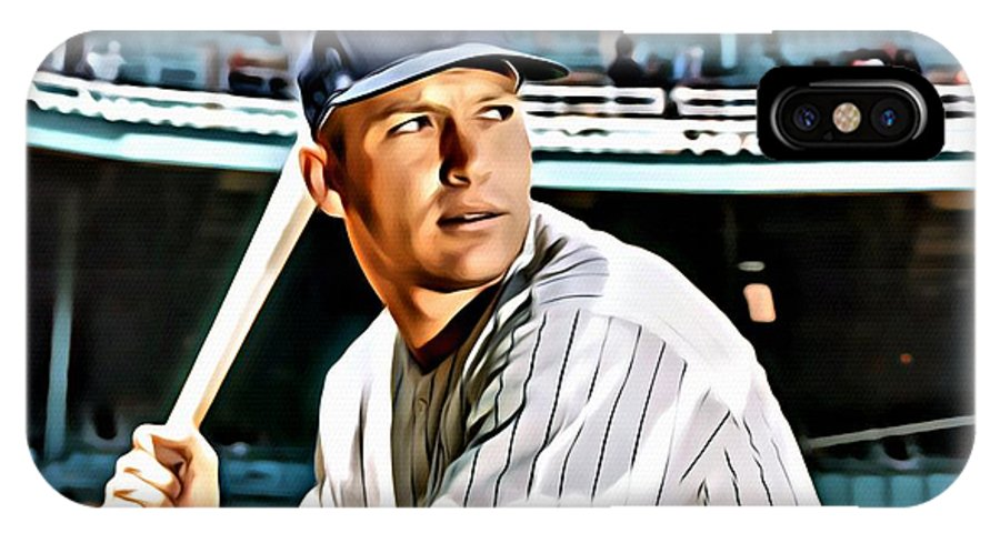 Mlb IPhone X Case featuring the painting Mickey Mantle by Florian Rodarte