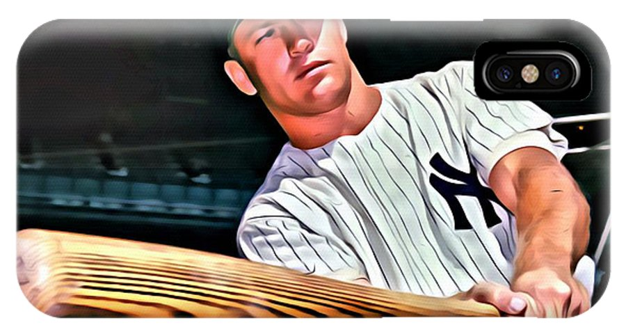 Mlb IPhone X Case featuring the painting Mickey Mantle Painting by Florian Rodarte
