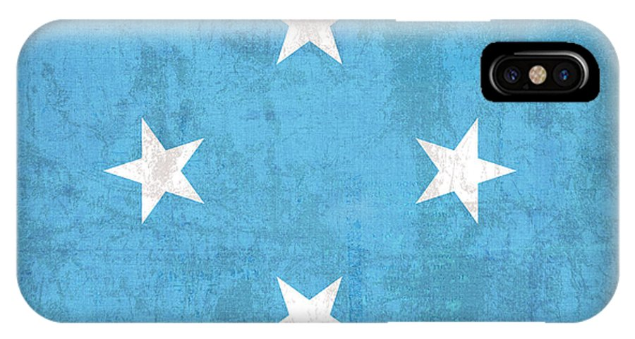 Micronesia IPhone X Case featuring the mixed media Micronesia Flag Vintage Distressed Finish by Design Turnpike