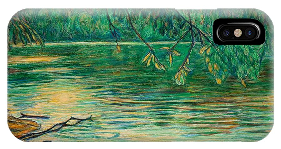 Landscape IPhone X Case featuring the painting Mid-spring On The New River by Kendall Kessler