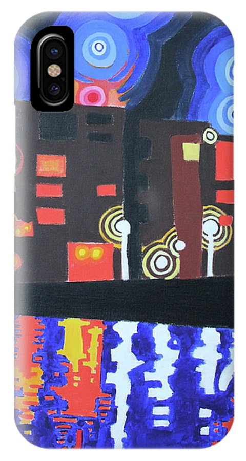 Night IPhone X Case featuring the painting Midnight At Tha Marina by Don Martinelli