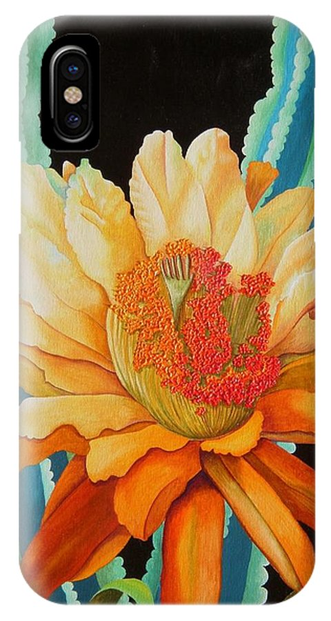 Acrylic IPhone X Case featuring the painting Midnight Bloom by Carol Sabo