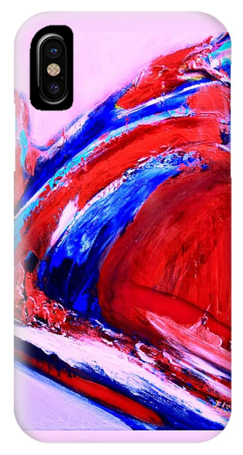 Original IPhone X Case featuring the painting Midnight Fishing by ElsaDe Paintings