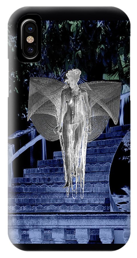Midnight IPhone X Case featuring the digital art Midnight Garden by Lisa Yount