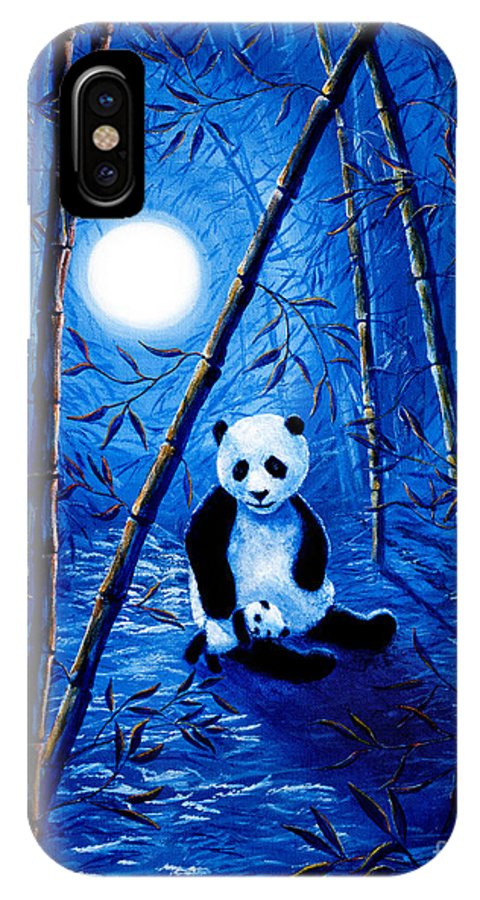 Zen IPhone X Case featuring the painting Midnight Lullaby In A Bamboo Forest by Laura Iverson
