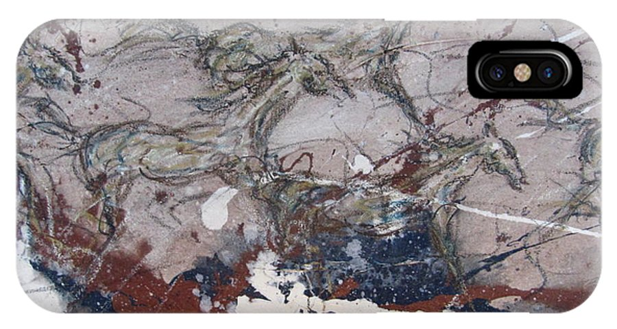Western Abstract IPhone X Case featuring the painting Midnight Run Center by Stacey Dykeman