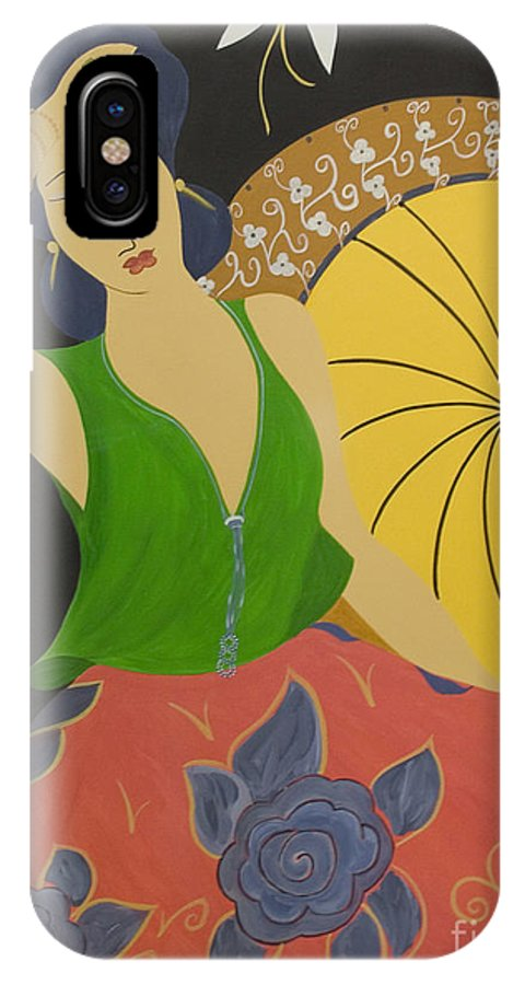 #female IPhone X Case featuring the painting Midnight Sun by Jacquelinemari