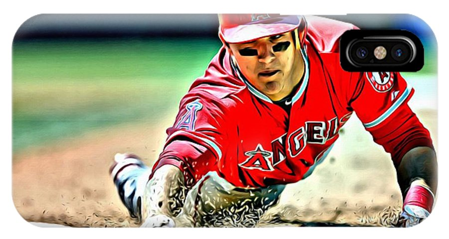 Mlb IPhone X Case featuring the painting Mike Trout Painting by Florian Rodarte