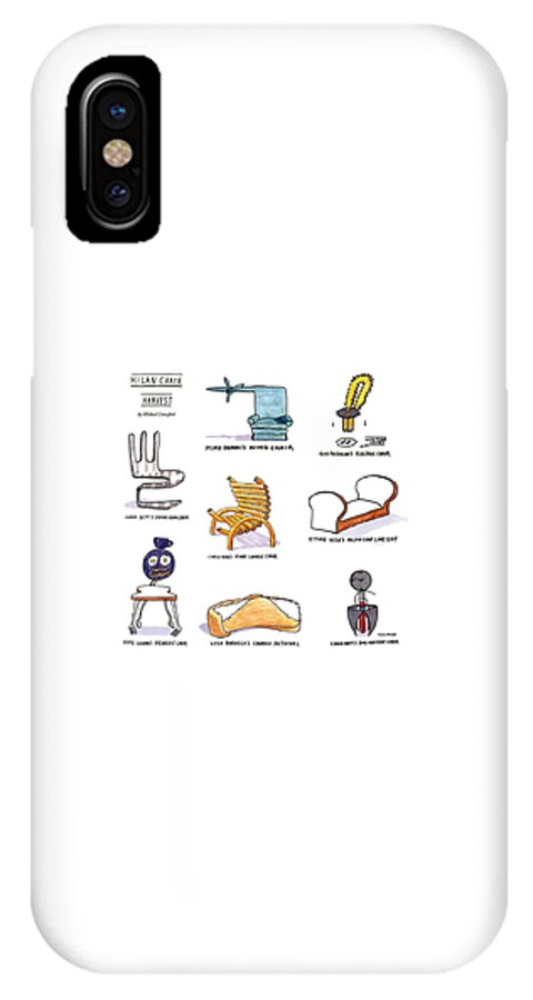 Fashion IPhone X Case featuring the drawing Milan Chair Harvest by Michael Crawford
