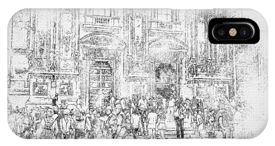 Milano IPhone X / XS Case featuring the digital art Milano Dome Tourists Bw by Yury Malkov