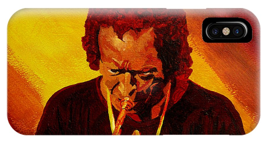 Miles Davis IPhone Case featuring the painting Miles Davis Jazz Man by Anthony Dunphy
