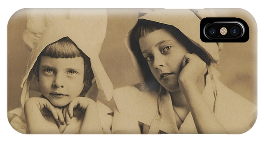 Antique Photograph IPhone X Case featuring the photograph Milkmaid Sisters by Paul Ashby Antique Image