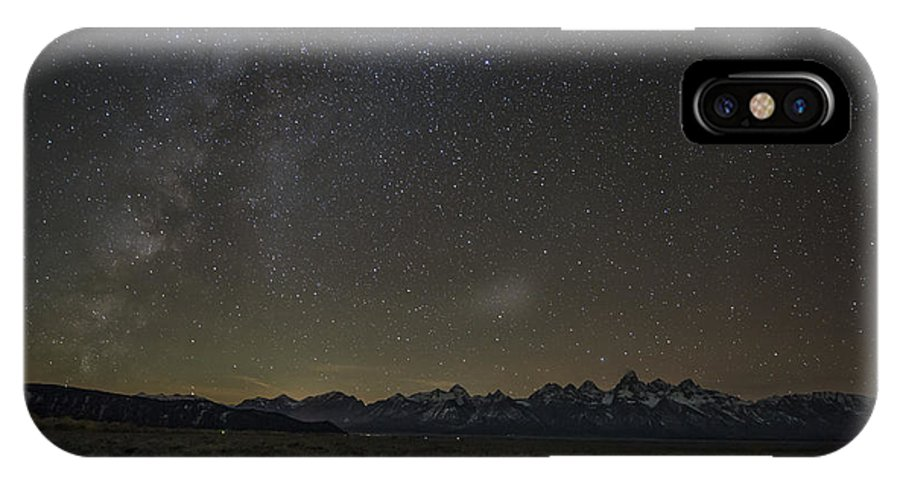 Tetons IPhone X Case featuring the photograph Milky Way Over The Tetons by Sheets Studios
