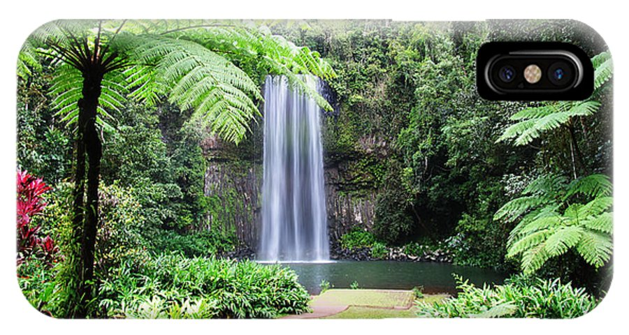 Waterfalls IPhone X Case featuring the photograph Millaa Millaa Falls by Linda Lees