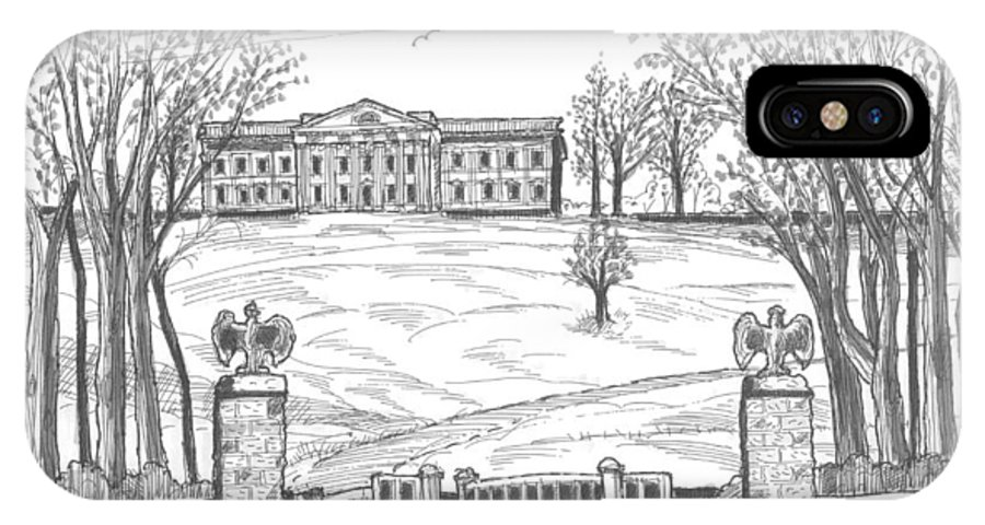 Hyde Park IPhone X Case featuring the drawing Mills Mansion Staatsburg by Richard Wambach