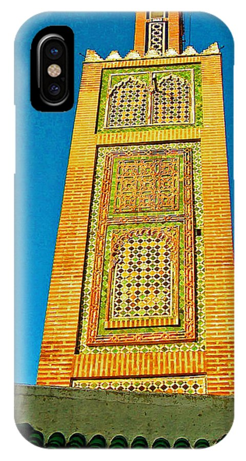 Minaret For Call To Prayer In Tangiers IPhone X Case featuring the photograph Minaret For Call To Prayer In Tangiers-morocco by Ruth Hager