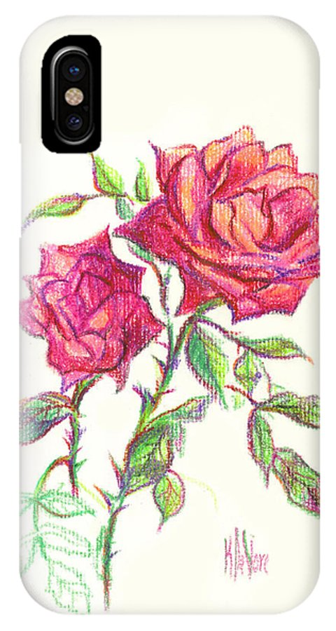 Nature IPhone X Case featuring the painting Minature Red Rose by Kip DeVore
