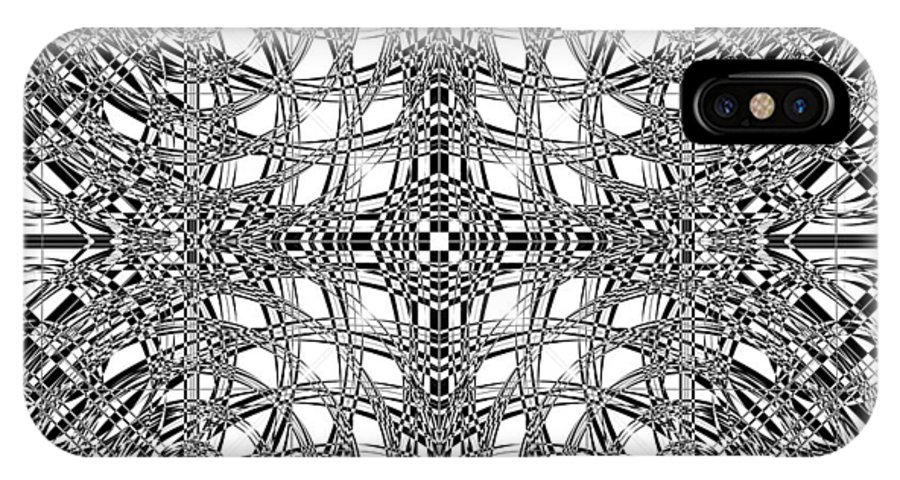Abstract IPhone X Case featuring the digital art B W Sq 9 by Mike McGlothlen