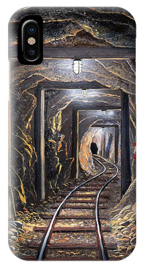 Mural IPhone Case featuring the painting Mine Shaft Mural by Frank Wilson