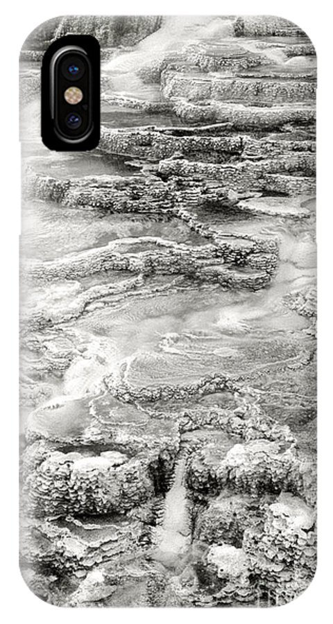 America IPhone X Case featuring the photograph Minerva Springs In Black And White Yellowstone National Park Wyoming by Dave Welling